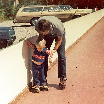 My father and I on rollerskates