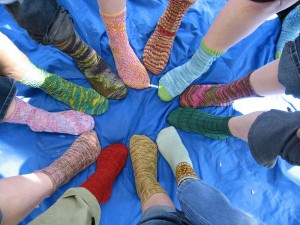 From Knit Together's sit n' Knit Sock Exchange Party.
