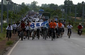 Siem Reap, Cambodia  In Siem Reap, Cambodia, 350 bicyclists rode through Angkor Wat Temples park to promote sustainable transportation as a solution to climate change and to urge political leaders to pass clean energy policies.
