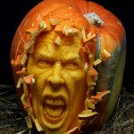 Horrifyingly good: Ray Villafane takes, on average, just two hours to carve one of his pumpkin sculptures, like this one entitled Shattered!