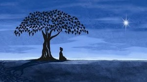 The Blue Buddha sits under the Bodhi tree.
