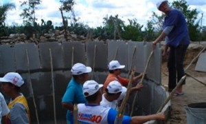 Part of the million cisterns program in Brazil's arid northeast to resolve families' domestic water needs. This is work supported by the grassroots organization, Polo Sindical. Credit: Grassroots International (grassrootsonline.org)