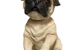 Bobbleheaded pug dog toy