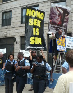 """Gay Protest Network writes, """"At the end of the Parade on Diversey Avenue, we protested, as we have done in several previous years, against a viciously anti-gay organization called the """"Street Preachers."""" But shortly after we arrived there, Chicago police officers on the scene insisted that we leave."""""""