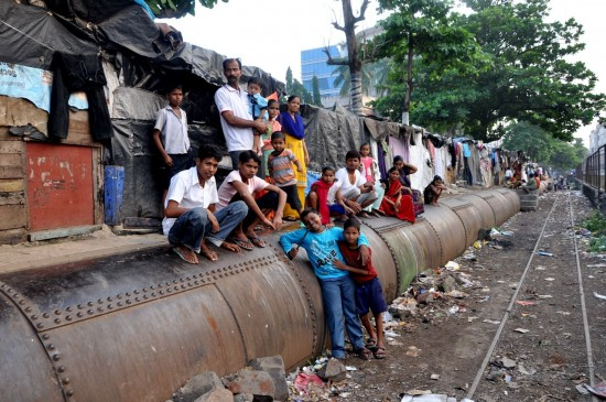 This pipeline is a community centrepiece in a Bombay slum