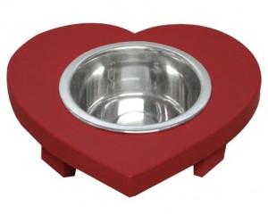 Heart shaped doggie dish