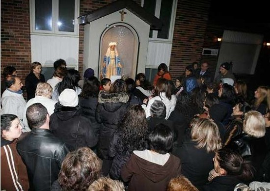 """Fadia Ibrahim calls the supposedly weeping statue of Mary a """"miracle""""  (Source: Windsor Star)"""