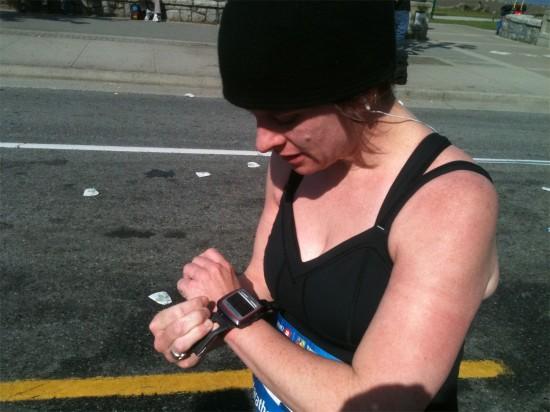 Jess running the marathon