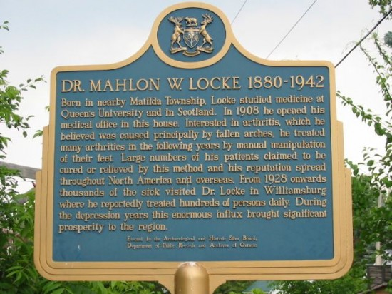 Plaque dedicated to Dr. Mahon Locke