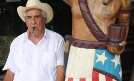 Pedro Bello Sr. in front of Cuban Tobacco Cigar Co. in Miami's Little Havana.