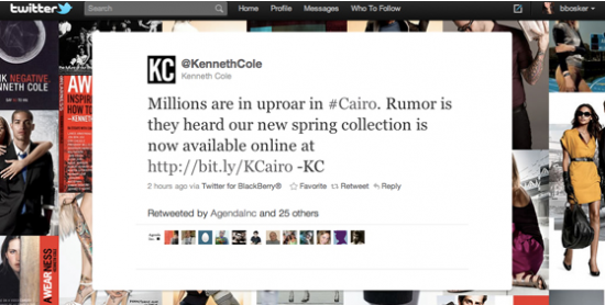 Egypt: Kenneth Cole tweet
