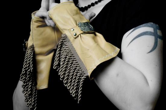 Fringed leather gloves from Rad Juli Custom Design