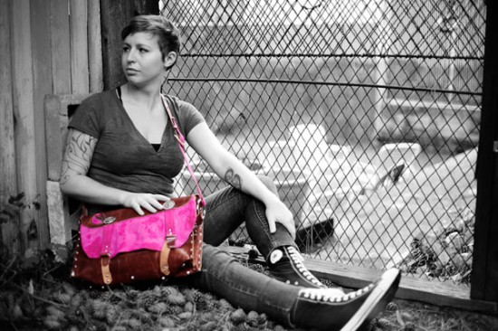 Pink and red ostrich leather purse from Rad Juli Custom Design