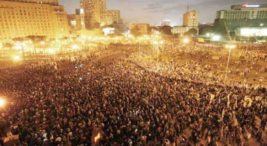 Egyptians flood the streets of their country in a mass plea for change.