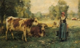 """""""A Milk Maid with Cows and Sheep"""" by Julien Dupré"""