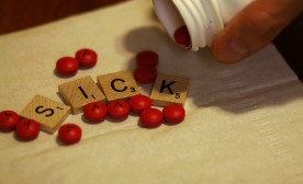 Sick Spelled Out in Scrabble Letters