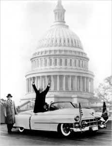 President Dwight D. Eisenhower in a Eldorado on Inauguration Day 1953.