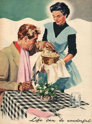 a 1950s housewife serves pie