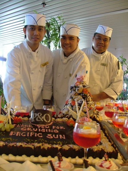 Pastry cooks on board The Pacific Sun. Photo © Vincent Ross.