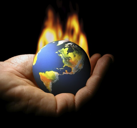 Climate change-burning globe