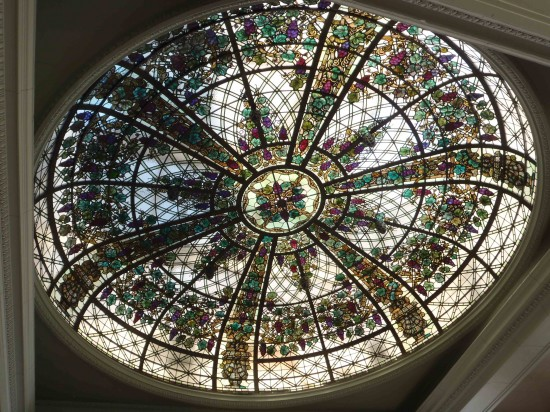 Stained glass dome in Casa Loma's conservatory.