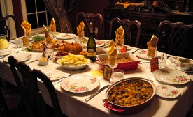 Beautiful table with thanksgiving food