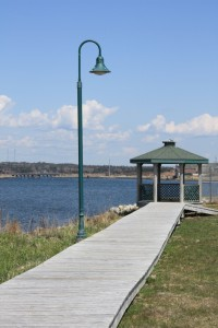 Gazebo at end of beach boardwalk in Lockeport