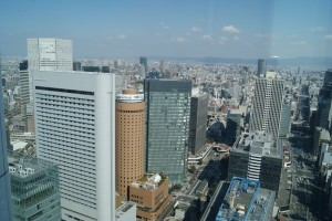 View of Osaka from Le Comptoir de Benoit. Hilton is on the left.