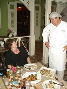 Chef Jean-Jacques discussed meal with Sandra Nowlan
