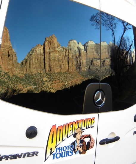Adventure Photo Tours Van reflecting natural beauty of Zion Canyon