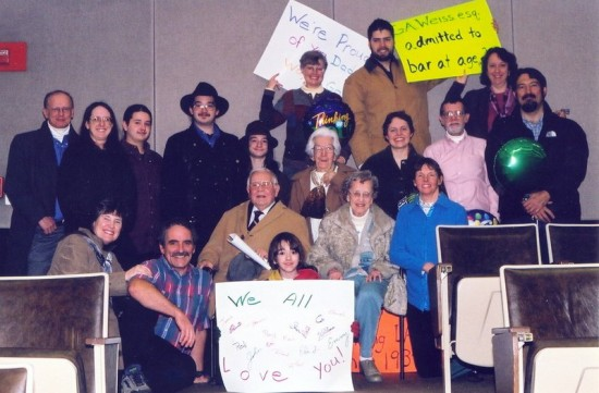 Gerry (in camel coat, seated front row) with family at his 90th, at Pace Law School course