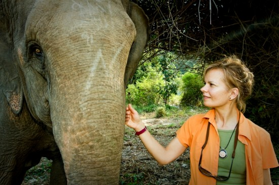 Patricia with an elephant