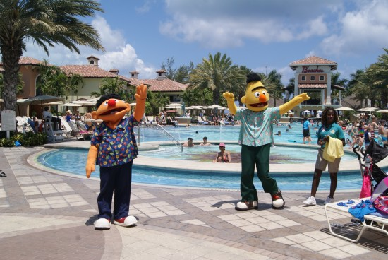 Bert and Ernie by the Beaches pool.
