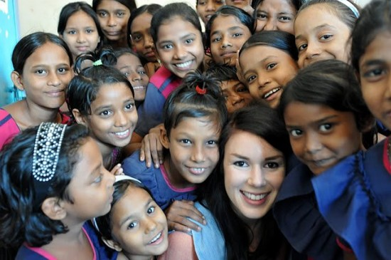 Global Mothers Co-Founder, Katie Mogan Graham, visiting girls at a school in Dhaka, Bangladesh