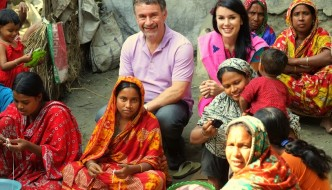 Co-founders, Peter Mogan and his daughter, Katie Mogan Graham, visiting artisans in rural Bangladesh