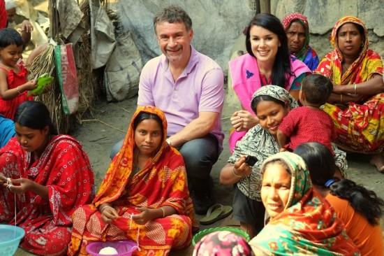 Co-founders, Peter Mogan and his daughter, Katie Mogan Graham, visiting artisans in rural Bangladesh