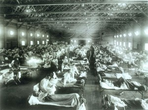 Historical photo of the 1918 Spanish influenza ward at Camp Funston