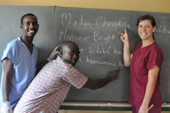 Christina providing training at the National Orthopedic Clinic in Conakry, Guinea.