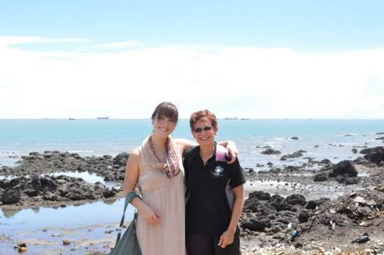 Jane and Christina visit a beach together in Guinea