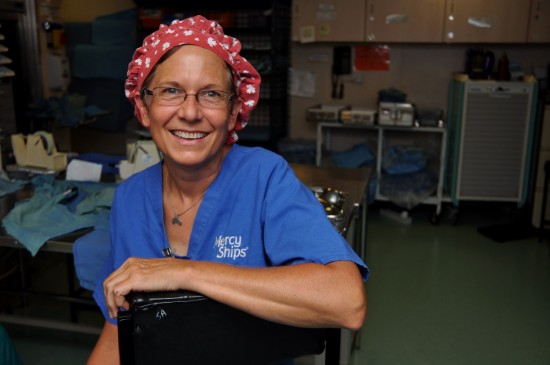 Jane McIntosh ready to begin work in one of the 6 operating theaters onboard the Africa Mercy