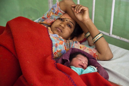 Mother with her new born under Care of Vatsalya Managed Urban Reproductive and Child Health Centre