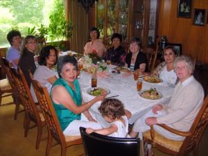 Table talk in Joan's dining room
