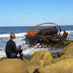 Amanda at Western Newfoundland's magnificent Gros Morne National Park - wreckage of the SS Ethie
