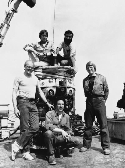 The 1982 expedition team: Dan Nelson, left - Randy Weldon, upper left - Emory Kristof, upper right Chris Nicholson, right - Martin Bowen, lower center