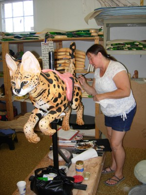 Painting Zula the serval takes at least 13 coats of primer