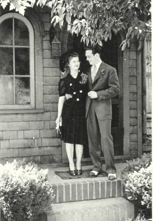 Bettie and Rex after their wedding reception at home of friend who introduced them, June 1941.