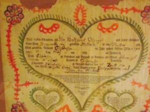 1790 marriage fraktur. Berks Cty, PA