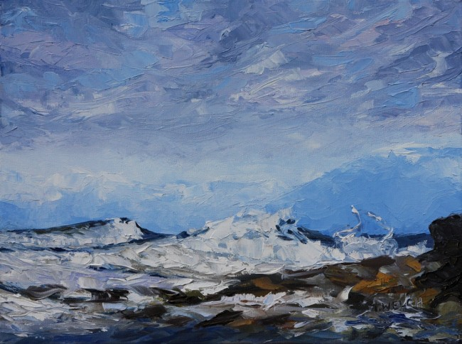 West Coast Blues - study 12 x 16 inch oil on canvas by Terrill Welch