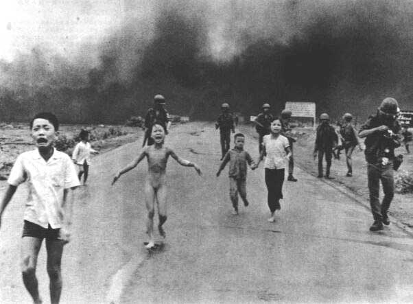 Phan Thi Kim Phuc by Nick Ut 1972  - The Pulitzer prize winning image of naked Phan Thi Kim Phuc fleeing a US napalm attack taken (c) AP photographer Nick Ut