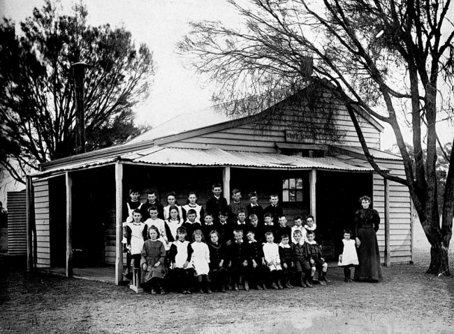 Pupils & Teacher in Front of Clear Lake State School, Victoria, 1893